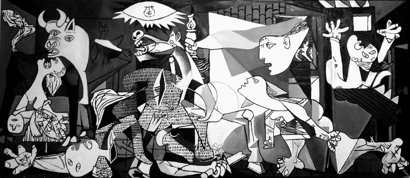 Pablo picasso most famous painting is in black and white in 1937 he painted guernica to condemn the bombing of a town in the spanish civil war